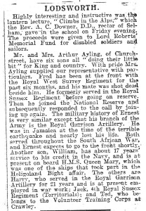 WW1 Newspaper cutting 1915 - Ayling family