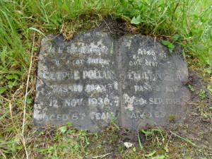 The gravestone of the Pollard brothers' parents in Cocking churchyard.