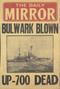 Daily Mail placard of explosion of HMS Bulwark