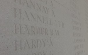 Richard Harber's name on the Arras Memorial