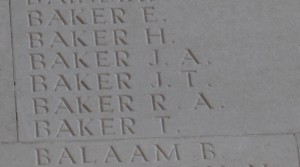 James Baker's name on Thiepval memorial