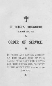 Order of Service for dedication of Lodsworth war memorial