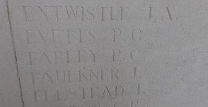 Percy Farley's name on Vis en Artois Memorial