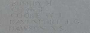 William Cook's name (misspelt) on The Loos Memorial
