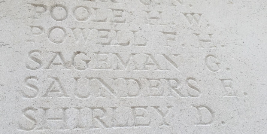 George Sageman's name on the memorial at La Ferte-sous-Jouarre
