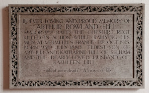 Memorial to Arthur Rowland Hill in Selham church