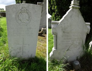 Herbert Wrapstone's two gravestones in Heyshott churchyard