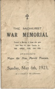 Midhurst War Memorial dedication - cover of order of service