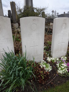 The grave of Private Charles Ayling at  Merville Communal Cemetery Extension