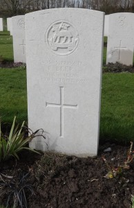 The grave of Private Frank Beer  at Bedford House Cemetery, near Ypres