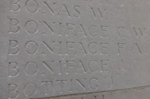 Private Frederick Arthur Boniface remembered on the Loos Memorial
