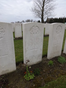 The grave of Private William Henry Hall at Aeroplane Cemetery, Ypres