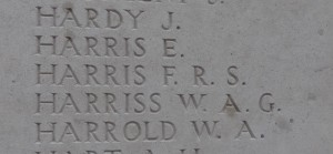 Private Frederick Richard Seat Harris remembered on the Tyne Cot Memorial
