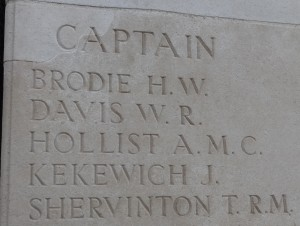 Captain Anthony May Capron Hollist remembered on the Loos Memorial