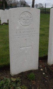 The grave of Private Frederick Arthur Moseley at  Hooge Crater Cemetery, Zillebeke
