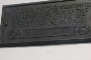 Plaque in the NatWest Bank, Rumbolds Hill, Midhurst