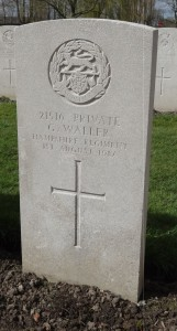 The grave of private George Edward Waller at  Lijssenthoek Military Cemetery