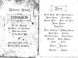 "Welcome home dinner for ""the men of Graffham and Lavington who served in the Great War"""