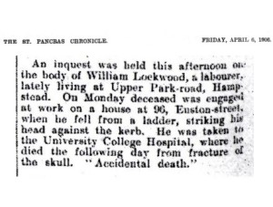 The report of the inquest into the death of William Lockwood